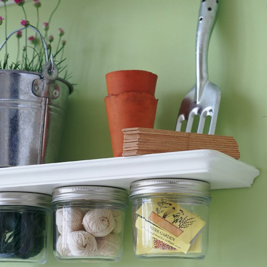 mason jar shelving